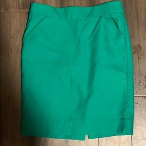 J Crew Green Pencil Skirt